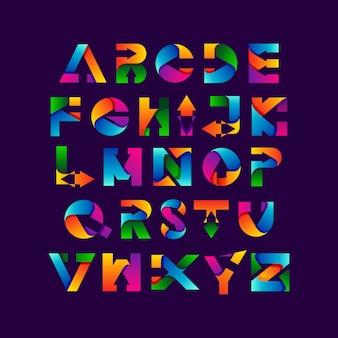 Alfabetos coloridos e setas com estilo gradiente
