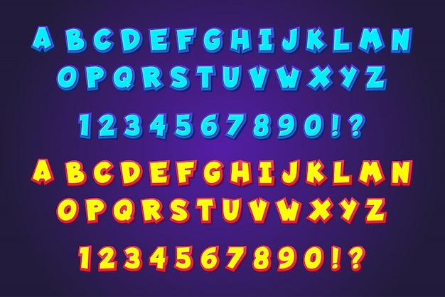 Alfabetos de estilo de fonte de tipografia em quadrinhos desenhos animados