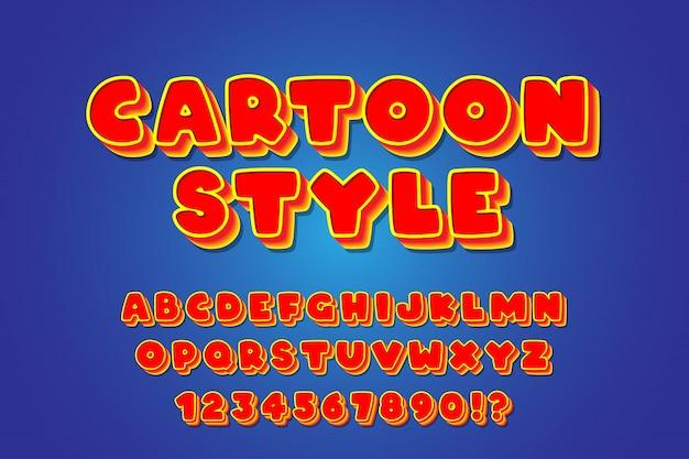 Alfabetos de fonte vermelho amarelo bold (realce) dos desenhos animados