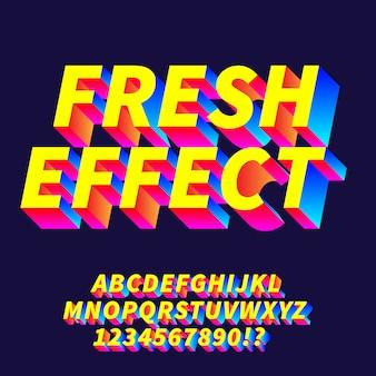 Alfabetos de gradiente de efeito fresco