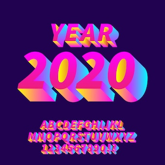 Alfabetos de gradiente fresco do ano 2020