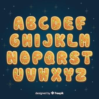 Alfabetos de natal com estilo de cookie