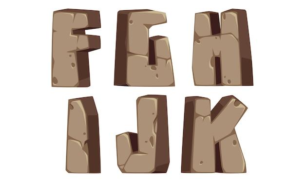 Alfabetos de pedra f, g, h, i, j, k