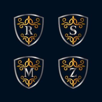 Alfabetos e coleções de logotipo de estilo vintage de escudo