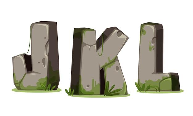 Alfabetos feitos de pedra