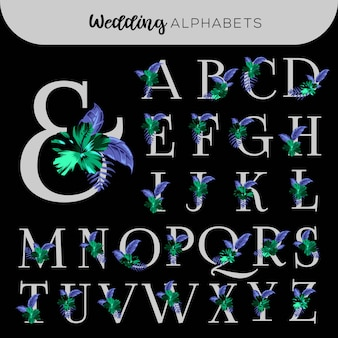 Alfabetos florais do casamento hibiscus
