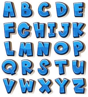 Alfabetos ingleses em blocos azuis