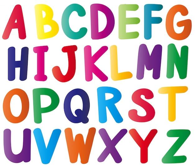 Alfabetos ingleses em muitas cores