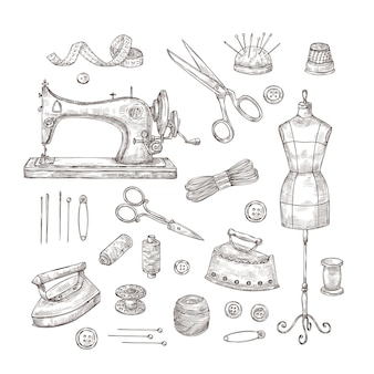 Alfaiataria. esboço ferramentas de costura materiais roupas vintage bordado indústria têxtil costura alfaiate conjunto de artesanato
