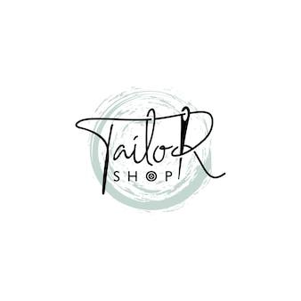 Alfaiataria ou logotipo de costura estilo letras com agulha
