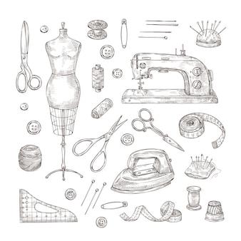 Alfaiate loja mão desenhada costura ferramenta material vintage roupas
