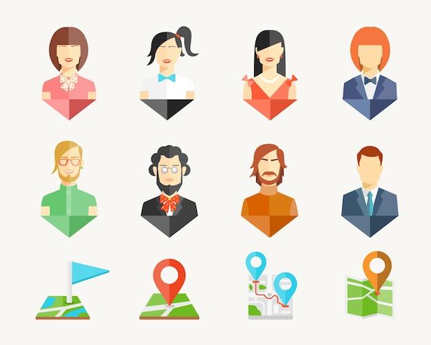 Alfinetes de avatar de homens e mulheres de vetor para mapa