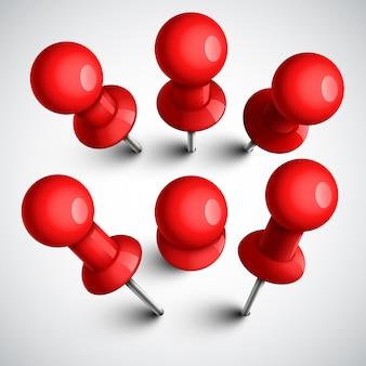 Alfinetes vermelhos, conjunto de tachinhas