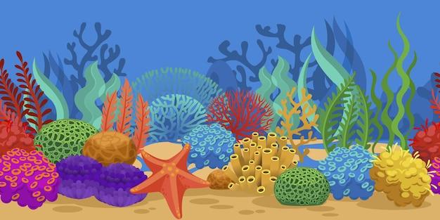 Algas marinhas de recife de coral na borda sem emenda do oceano oceano fundo do mar textura submarina horizontal
