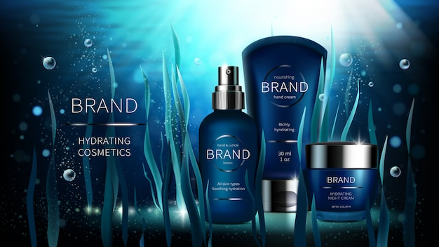 Algas naturais vector design de publicidade realista cosmética