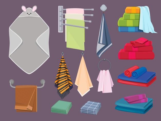 Algodão têxtil. cobertores de tecido e panos de cozinha elementos de desenhos animados coloridos de higiene de banheiro. toalha de maciez de coleção em cabide para ilustração de higiene