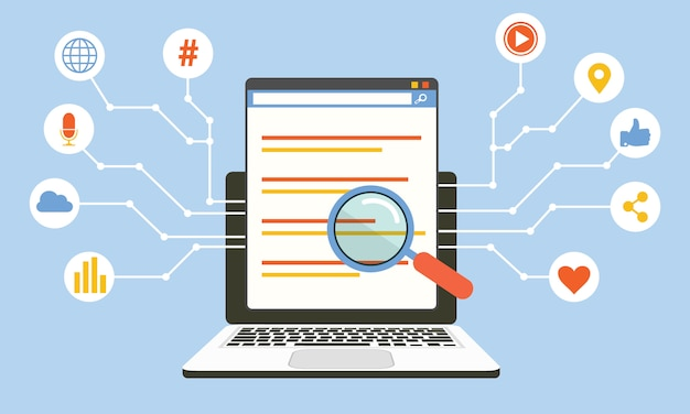 Algoritmo de mídia social, tecnologia digital, concep de vetor de programação de computador
