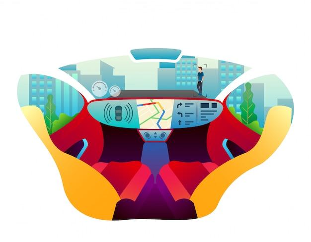 Alguém dirigindo um carro de luxo usa gps para pesquisar clientes.