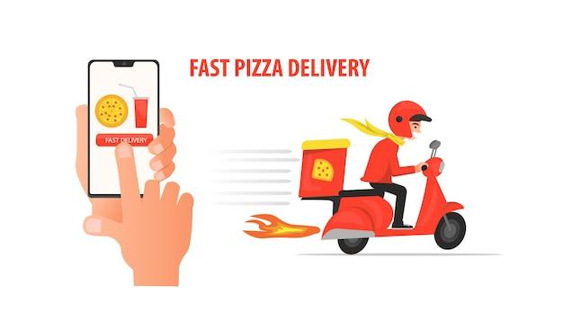 Alguém encomendou um serviço de entrega rápida de pizza usando aplicativo móvel