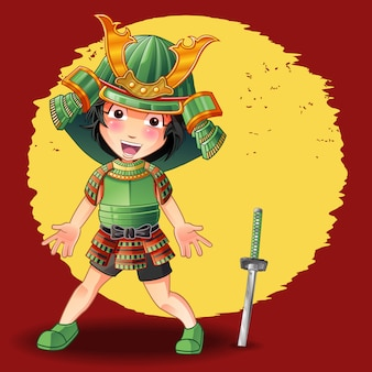 Alguém está em armadura samurai e espada.