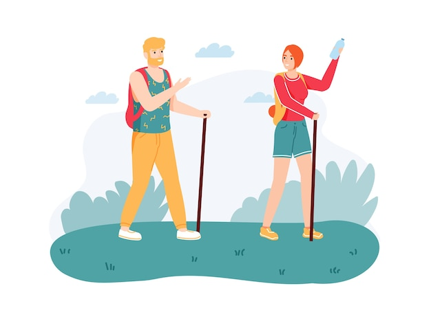 Algumas caminhadas na natureza com bengalas. homem e mulher com equipamentos e mochilas, tendo viagem.