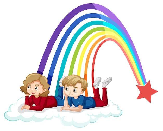 Algumas crianças deitando na nuvem com o arco-íris