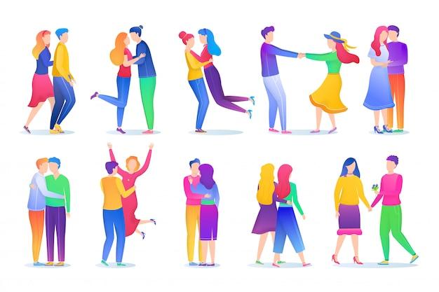 Algumas pessoas adoram conjunto de ilustração, desenho animado amoroso homem sem rosto, mulher em pé, de mãos dadas, relacionamento em branco