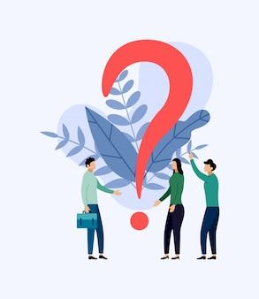 Algumas pessoas estão à procura de perguntas, ilustração do conceito de negócio