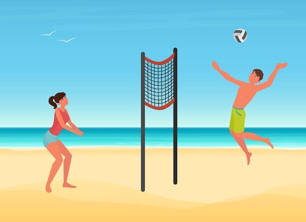 Algumas pessoas jogam vôlei na praia de verão de jogadores de uma ilha tropical jogando bola