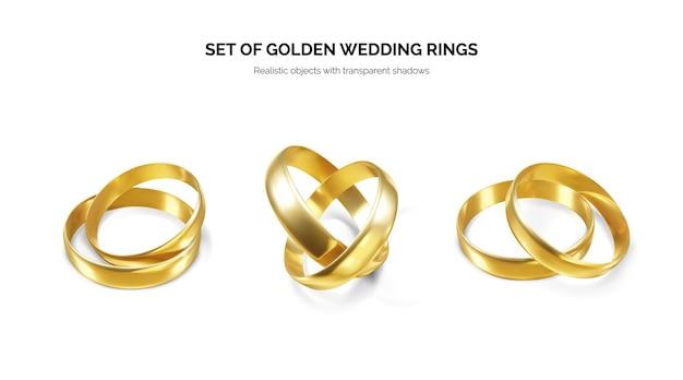 Alguns anéis de ouro realistas e brilhantes