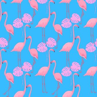 Alguns flamingos graciosos. folhas de monstro. fundo de verão tropical. padrão uniforme.
