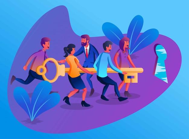 Alguns funcionários com um líder trabalhando juntos para levantar a chave para abrir a porta do sucesso, ilustração simples