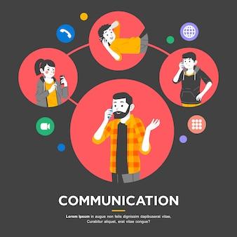 Alguns homens e mulheres fazem conferência por telefone.