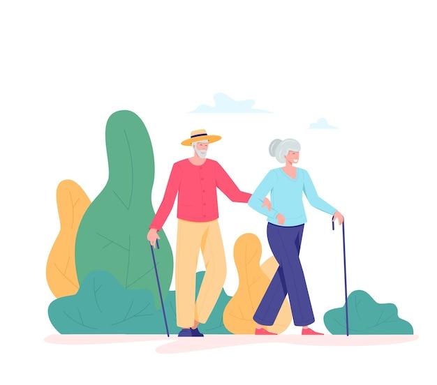 Alguns idosos caminhando ao ar livre. velho e mulher com uma bengala, caminhando em um parque. conceito de atividades de aposentados de recreação e lazer. ilustração de pessoas idosas, estilo simples.