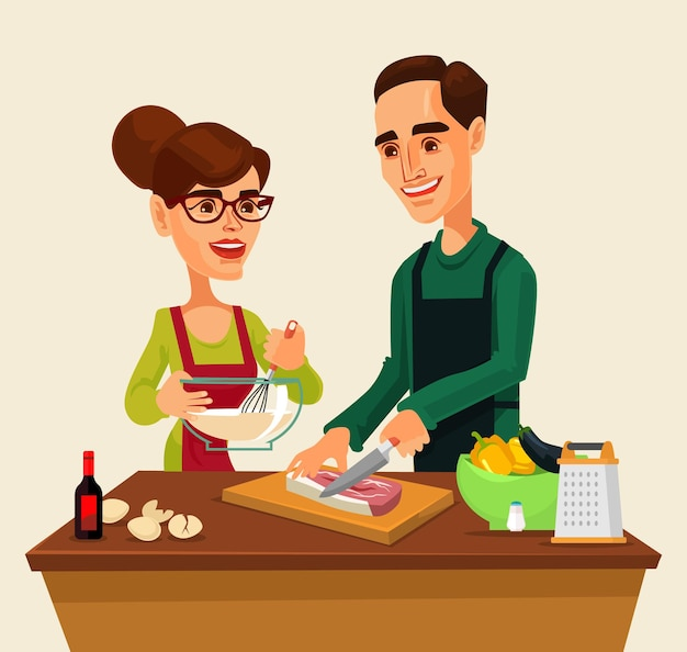Alguns personagens de homem e mulher preparando comida juntos.