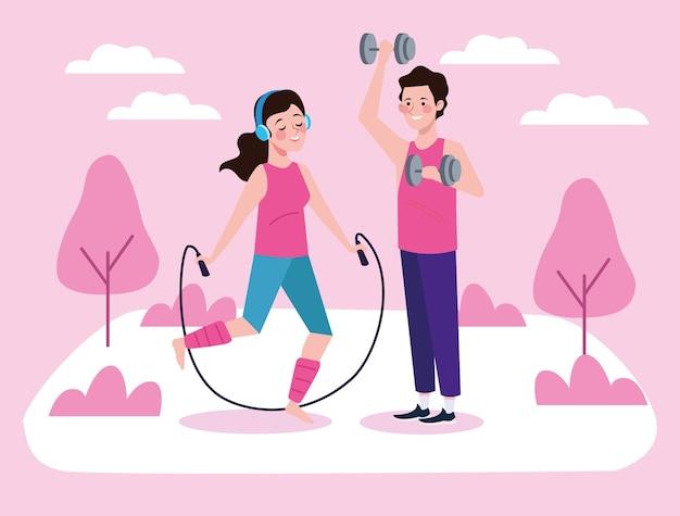 Alguns personagens pulando corda e levantando halteres estilo de vida saudável