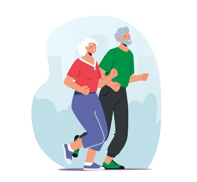 Alguns personagens seniores em roupas esportivas correm juntos