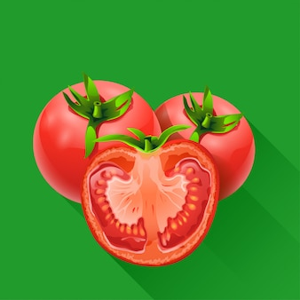 Alguns tomates em verde