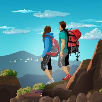 Alguns turistas estão caminhando nas montanhas