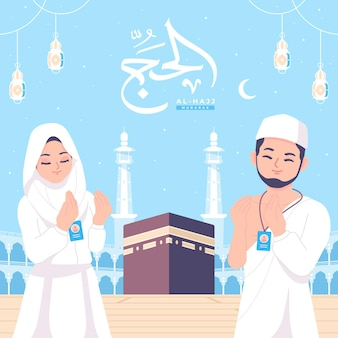 Alhajj mubarak e fundo de ilustração do conceito de peregrinação islâmica
