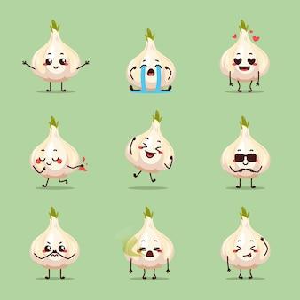 Alho branco em animação personagem de desenho animado mascote adesivo expressão triste feliz choro apaixonado ideia pulando pegou dinheiro
