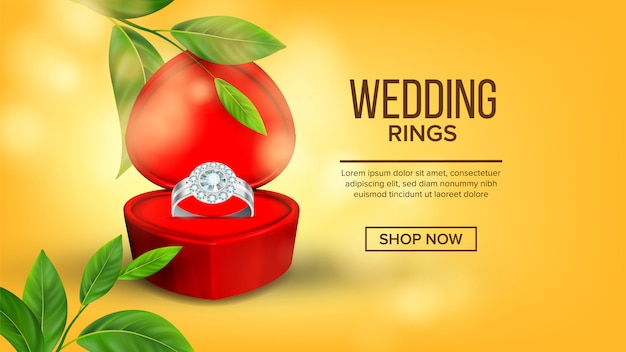 Aliança de diamante na caixa landing page