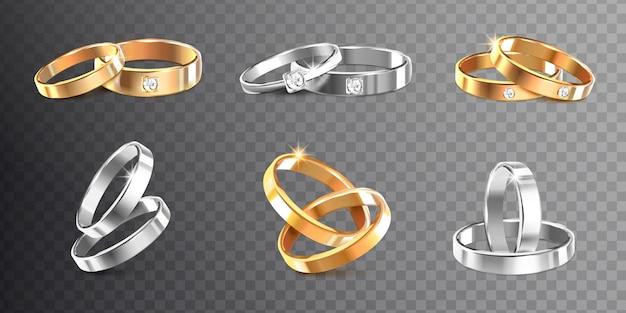 Alianças de casamento de ouro e prata decoradas com pedras preciosas, recorte, ilustração realista,