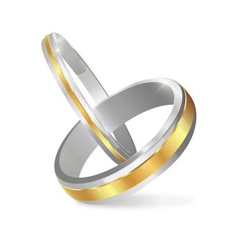 Alianças de casamento de ouro realistas com sombra