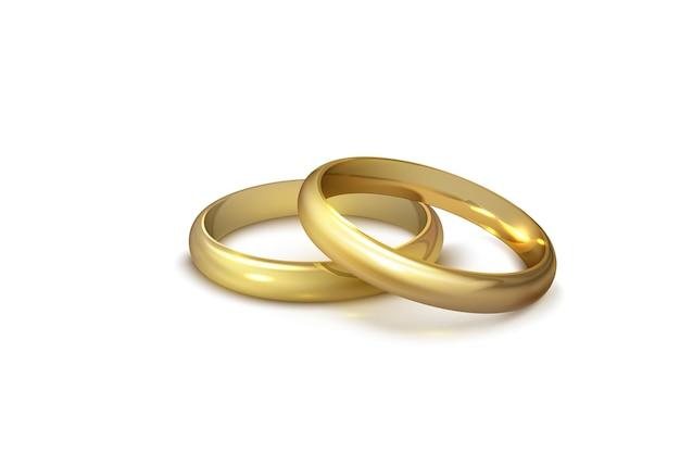 Alianças de casamento de ouro realistas isoladas no símbolo de fundo branco de amor e casamento. projeto de casamento realista. ilustração vetorial isolada em fundo branco