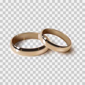 Alianças de casamento douradas isoladas, estilo realista 3d