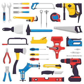 Alicates de martelo de ferramentas manuais de construção de ferramentas manuais e chave de fenda do conjunto de oficina de ilustração de caixa de ferramentas de carpinteiros chave inglesa e serrote isolado no fundo branco