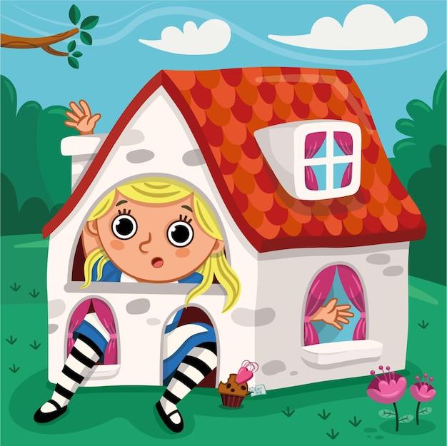 Alice está sentada em uma linda casinha. ilustração vetorial