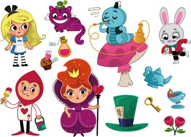 Alice no país das maravilhas personagens e ilustração vetorial de elemento