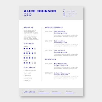 Alice simples profissional j. modelo de currículo ceo